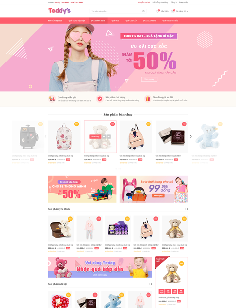 mẫu website bán thời trang Teddy