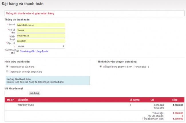 Form khách hàng đặt hàng với giải pháp thiết kế web Hải Dương