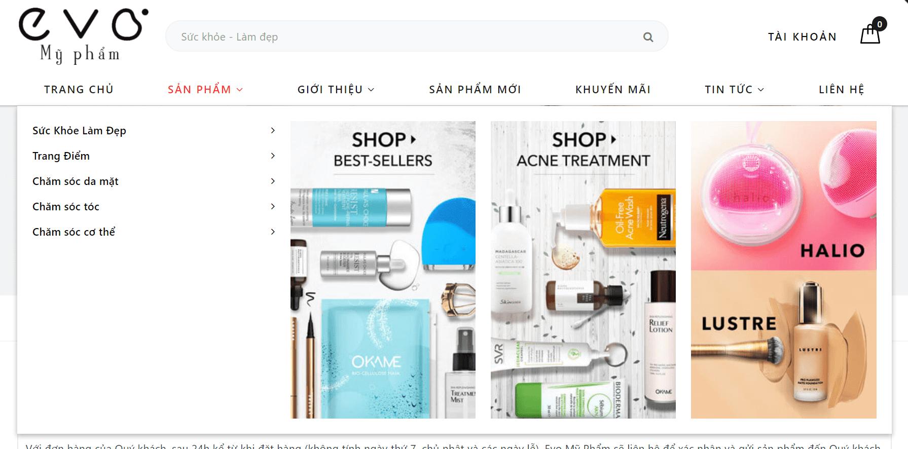 thiết kế website mỹ phẩm giá rẻ