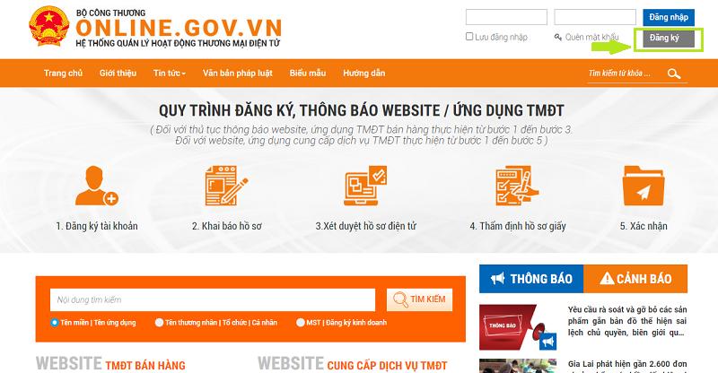 cách đăng ký website thương mại điện tử với Bộ Công Thương