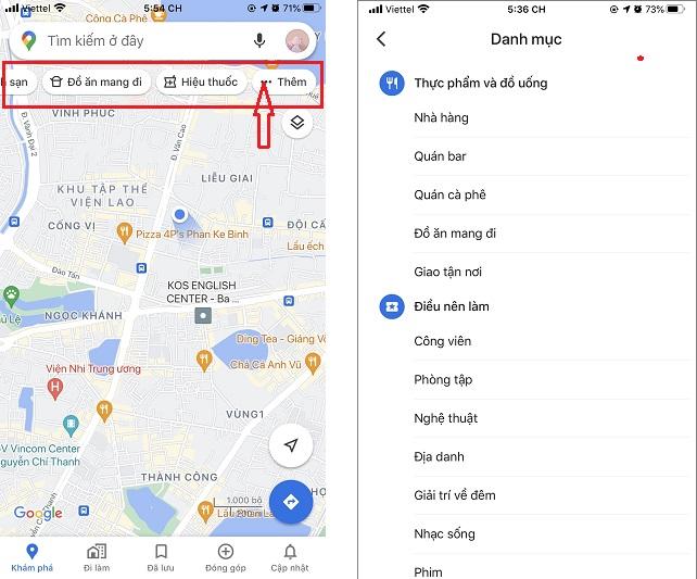 cách tìm địa điểm trạm xăng, cây ATM, bằng bản đồ google maps