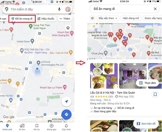 Tìm các nhà hàng có dịch vụ mua mang đi hoặc giao hàng