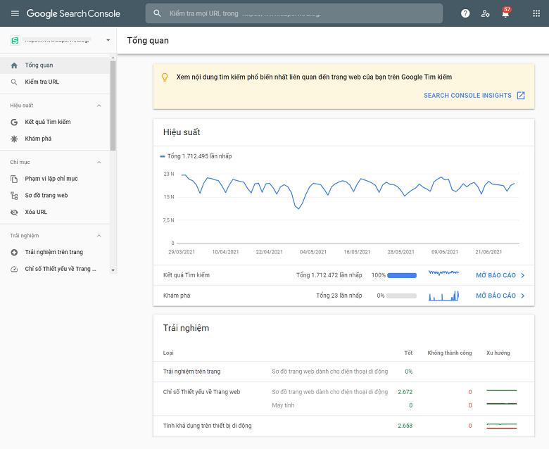 Giao diện công cụ phân tích website Google Search Console