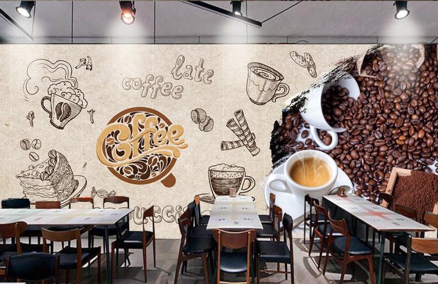 Trang trí tường quán cafe bắt mắt