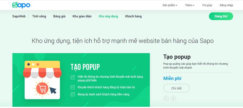 kho giao diện phong phú sapo web