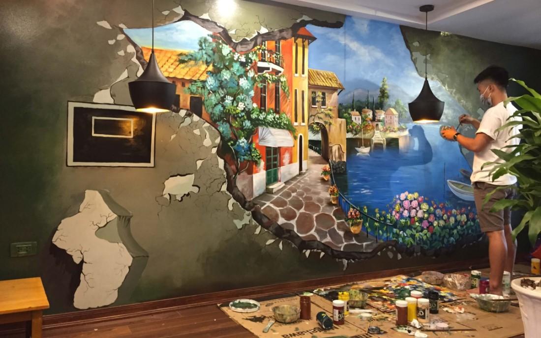 trang trí tường quán cafe bằng nét vẽ nghệ thuật