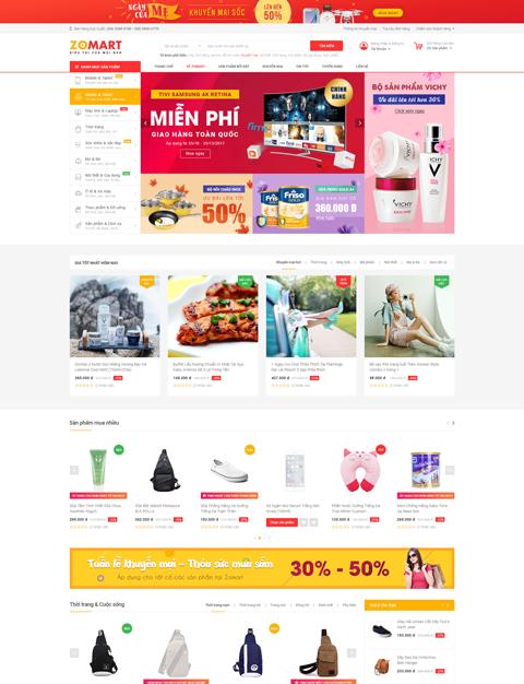 mẫu website bán hàng chuyên nghiệp Zomart