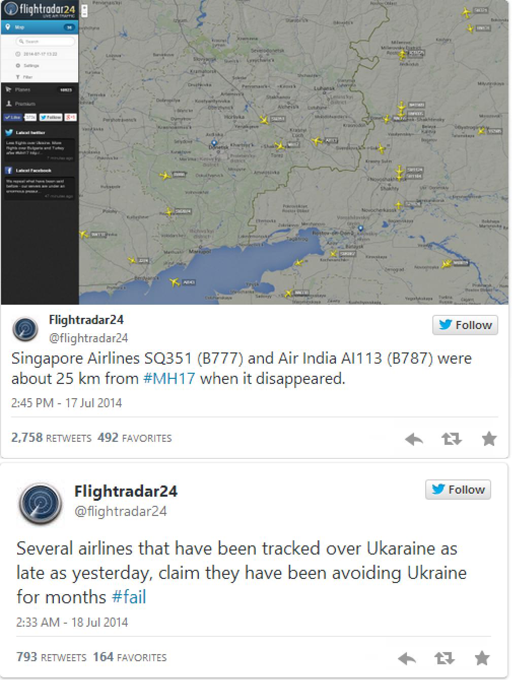 Flightradar24 website tracks airlines that flew over Ukraine ...