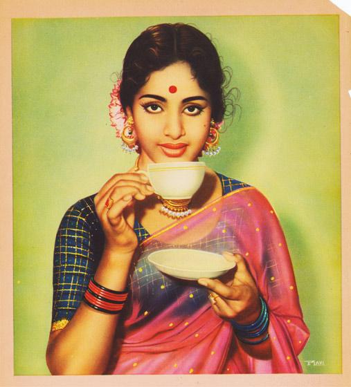 South Indian Actor KR Vijaya Sips Tea Sample From A Catalogue Of Calendar Images Circa 1950s 60s