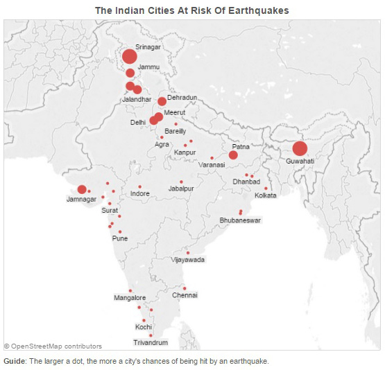 Guwahati and srinagar are at highest earthquake risk in india india has highly populous cities including the national capital of new delhi located in zones of high seismic risk said the report gumiabroncs Choice Image