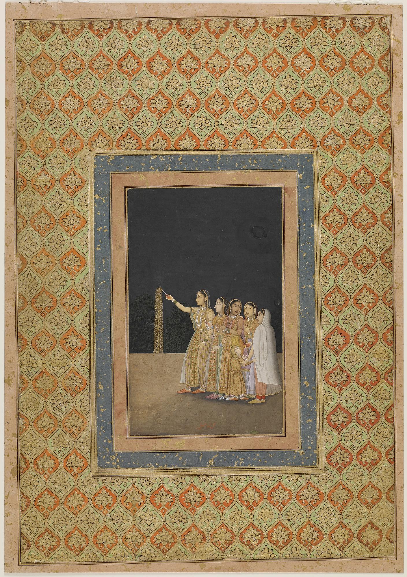 मुहम्मद अफजल के महल में पटाखे चलाती हुई महिलाएं ( सन 1740-1780) | साभार - फ्रीअर गैलरी ऑफ आर्ट
