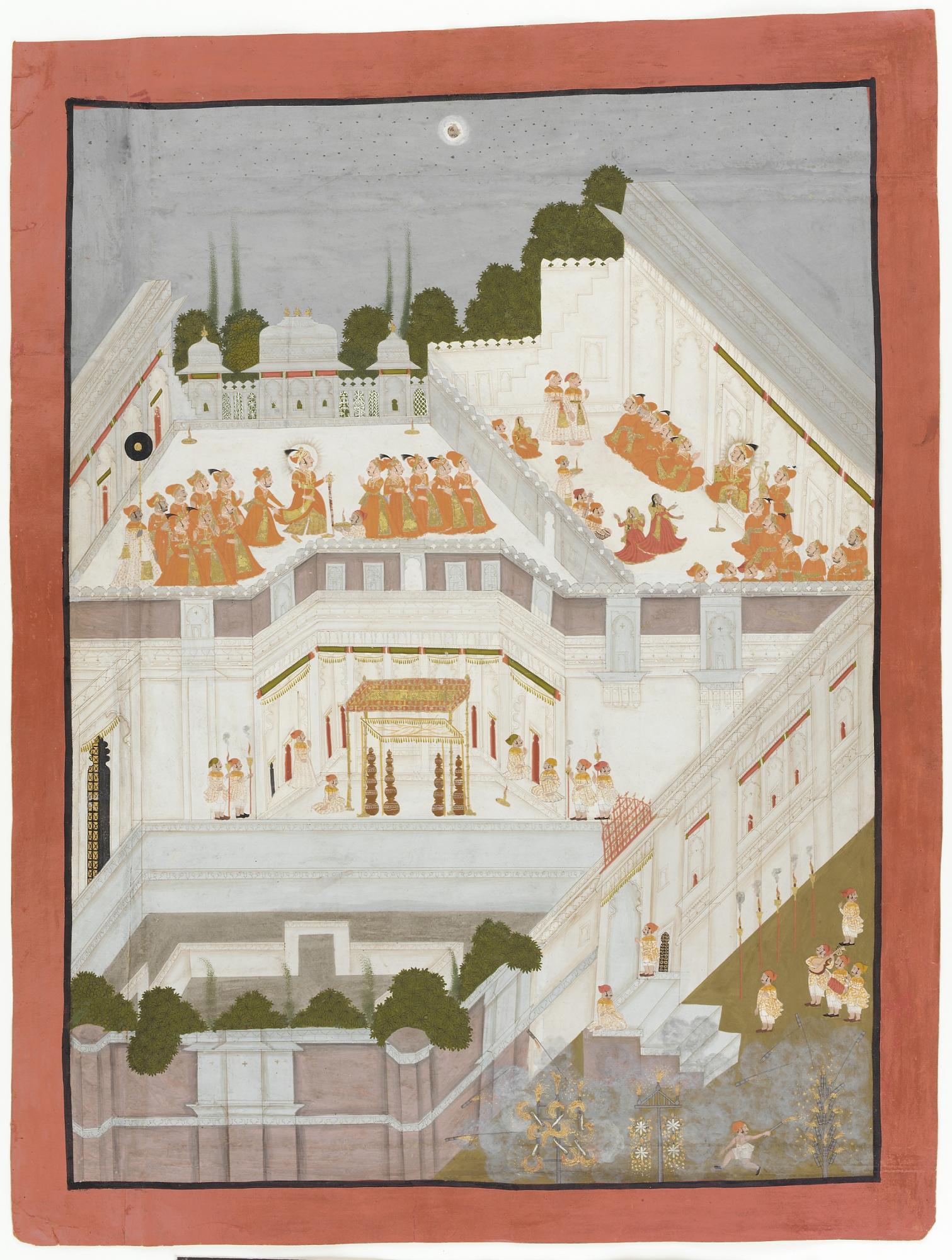 महाराणा अरि सिंह अपने महल में जश्न मनाते हुए (भीमाराम, केसूराम -1764) | साभार - फ्रीअर गैलरी ऑफ आर्ट