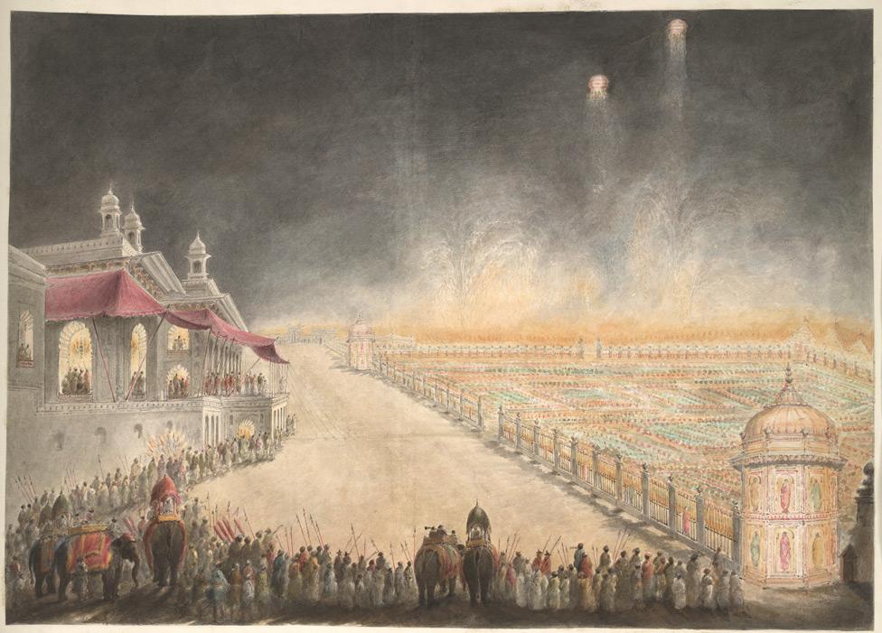 फरहत बख्श के महल का रंगीन रोशनी से जगमगाता हुआ बाहरी नजारा (सीताराम 1814) | साभार - ब्रिटिश लाइब्रेरी