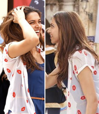 Deepika's look from the movie Tamasha...Help me look for the blue dress, lips printed shrug and the belt please.. - SeenIt