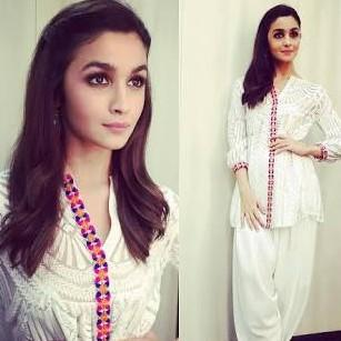 want a similar white short kurta with patiala salwar outfit just like alia bhatt is wearing - SeenIt