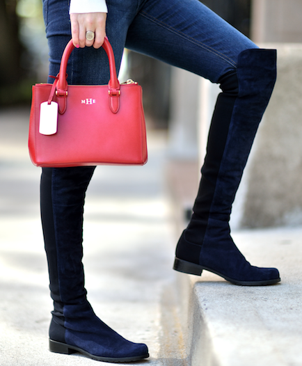 What chic knee high boots!! Where can I find navy suede ones like these? - SeenIt