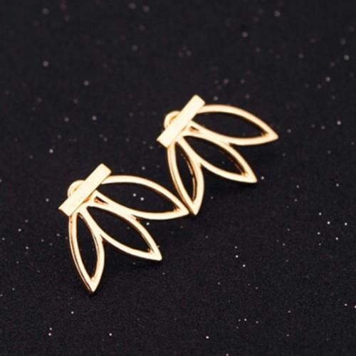 These gold lotus leaf stud earrings - SeenIt