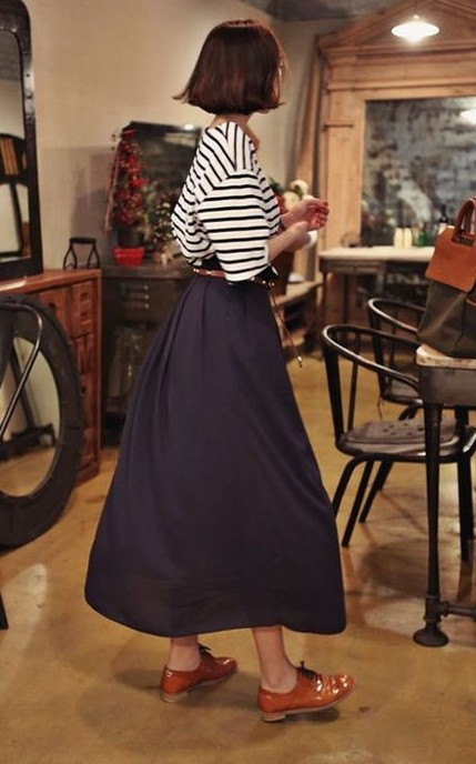 Want the striped top and maxi skirt - SeenIt