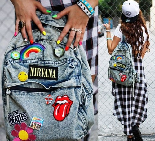 Want this blue denim patch work backpack - SeenIt
