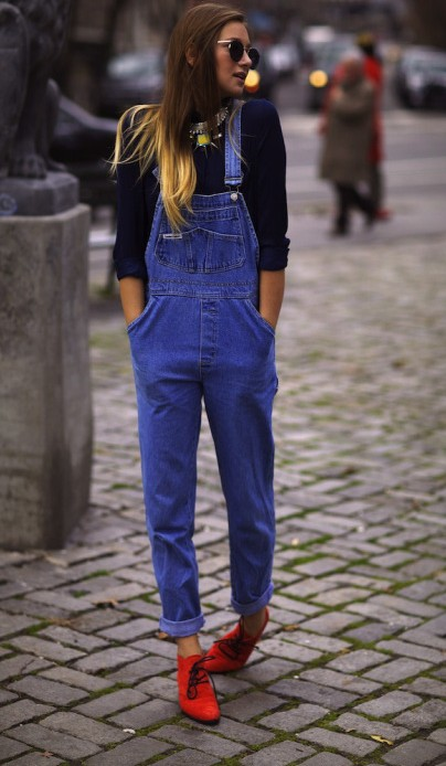 Want the black top, blue dungarees and red boots - SeenIt