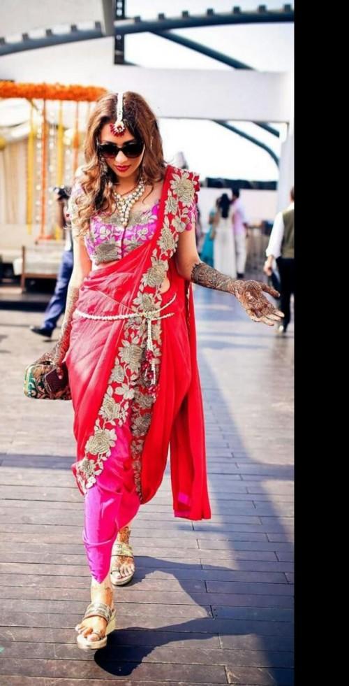 Similar saree/dhoti and heeled kolhapuris. - SeenIt