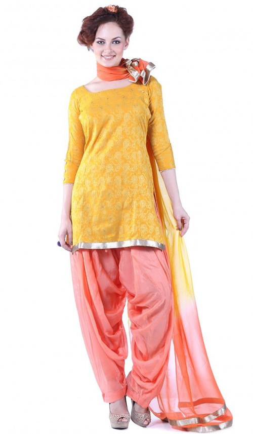 Have been looking for a salwar suit in yellow & peach combinaton since long! Help me find it! - SeenIt