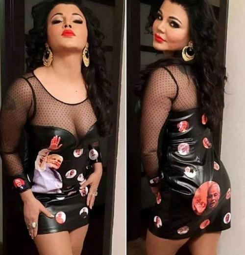 Lol lol lol what say seenit-ers? do you like rakhi sawant's modi printed black mesh neck short  dress ? - SeenIt