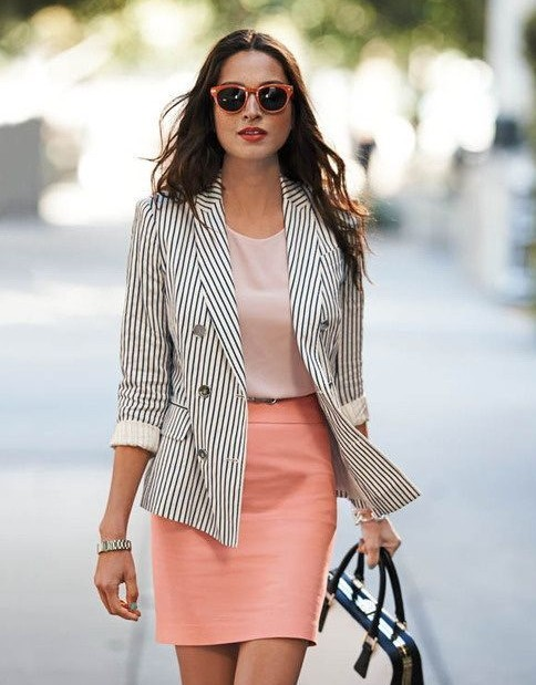 Totally digging the striped blazer, peach skirt and top as well as the sunglasses - SeenIt