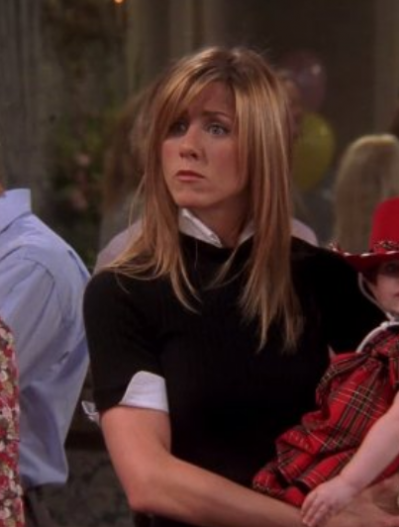 want this rachel's black collar sweater with half sleeves worn by her in friends season 10 - SeenIt