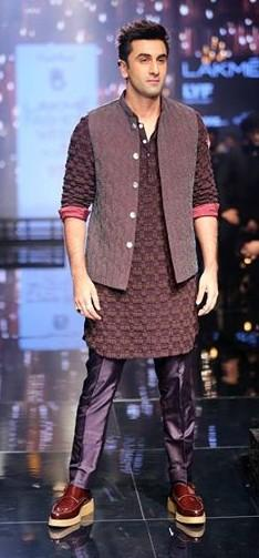 Ranbir Kapoor in Kunal Rawal at the Lakme India Fashion Week 2016. - SeenIt