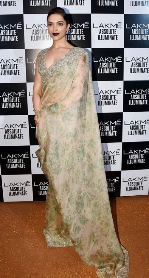 Deepika Padukone in Sabyasachi Mukherjee at the Lakme India Fashion Week - SeenIt