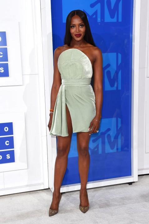 Model Naomi Campbell defied age in a mint green mini dress by Brandon Maxwell - SeenIt