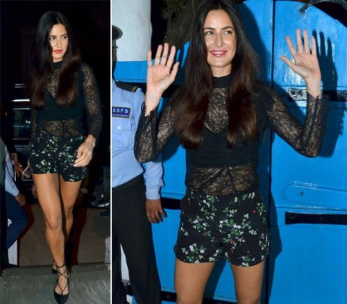 This kinda mesh top with bustier black top and green and black shorts outfit is so sexy. Have you seen it worn by katrina waif? - SeenIt