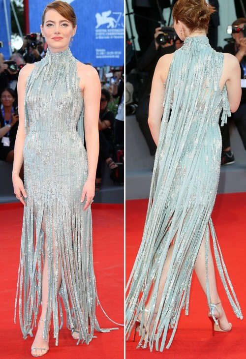 Emma Stone in Atelier Versace at the La La Land premiere. - SeenIt
