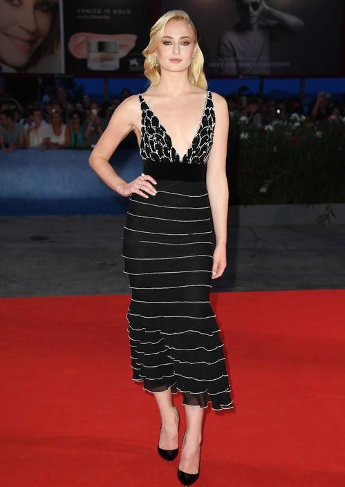 Sophie Turner wearing Yanina haute couture at the Venice Film Festival. - SeenIt