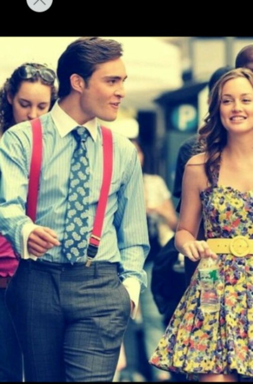 looking for similar red suspenders with a shirt just like chuck wore in gossip girl - SeenIt