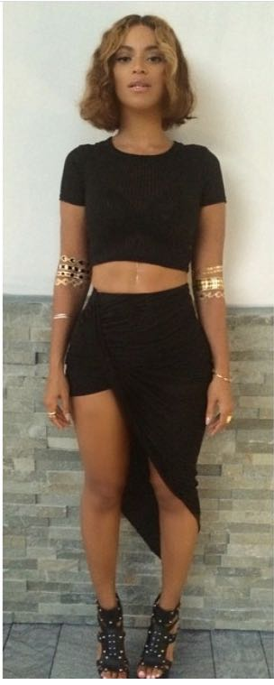 want a similar black half sleeved crop top and asymmetric skirt with shorts - SeenIt