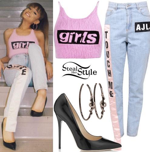 Arianna Grande in a pink ribbed croptop, blue jeans, black stilettos and silver hoop earrings - SeenIt