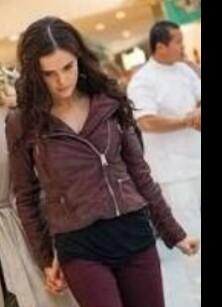 Rose Hathaway in Vampire Academy wearing a maroon biker faux leather jacket - SeenIt