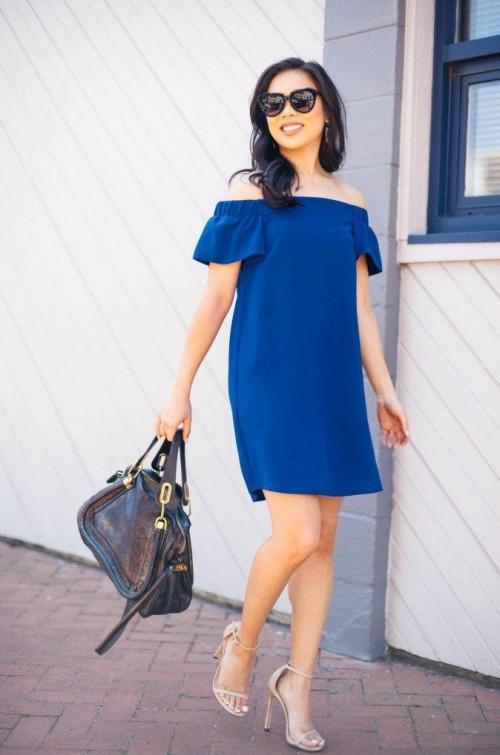 Love this blue off shoulder shift dress! Please help me get it on Indian sites! - SeenIt