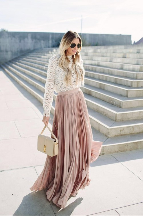 Love this nude pleated maxi skirt! Please help me find it.. - SeenIt