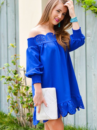 I love this blue lace off shoulder loose dress. Can you help me find it? - SeenIt