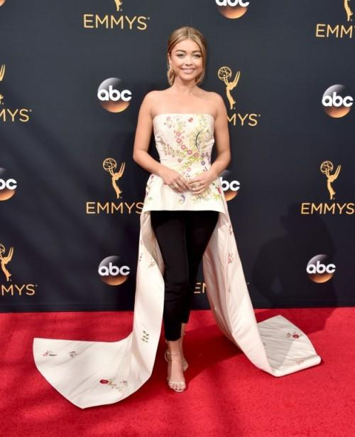 Sarah Hyland in a Monique Lhuillier top and bottom and Jimmy Choo shoes. - SeenIt