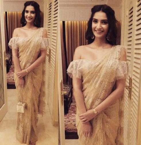 1d3e482ebce need a similar ruffled off shoulder saree blouse worn by sonam kapoor  bollywood - SeenIt
