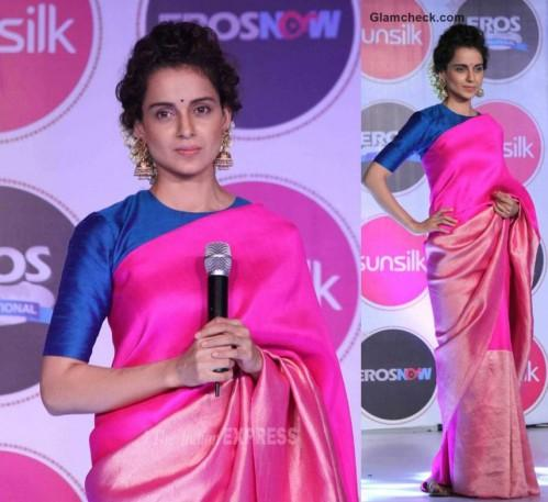 Want this beautiful hot pink silk saree qorn by kangana to an event. Any leads? - SeenIt