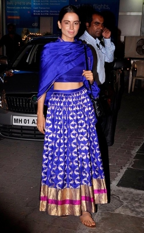 Find me this blue banarasi silk lehenga online just like kangana wore ! - SeenIt