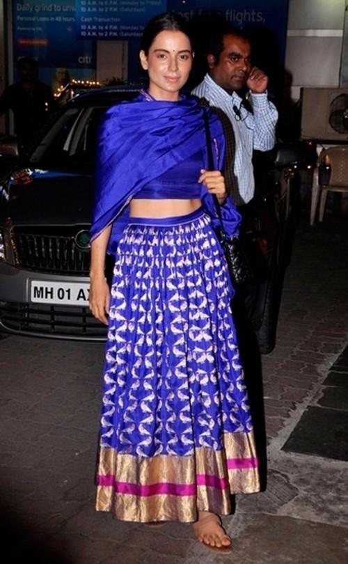 Find me this blue banarasi silk lehenga online just like kangana wore ! - SeenIt
