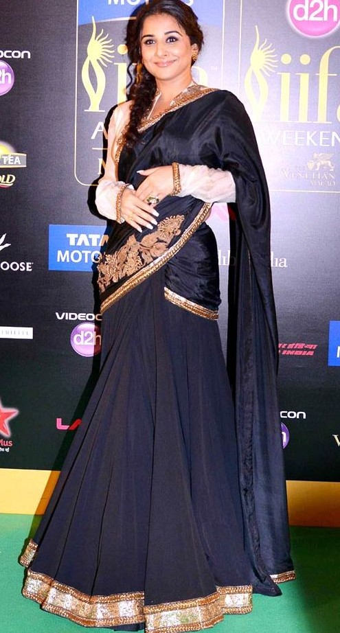 Want a smarter version of this black and gold lehenga saree - if possible :P - SeenIt