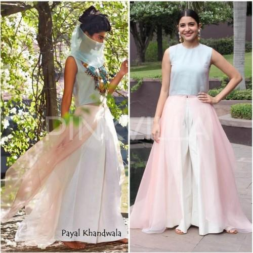 Anushka's pastel  skirt and wide legged pants outfit is so beautiful! Help me find it out. - SeenIt
