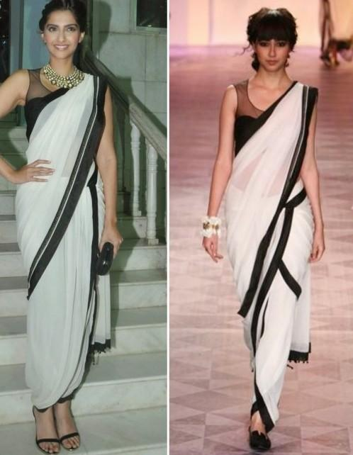 Looking for this plain white saree with black border. - SeenIt